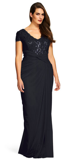 1940s Plus Size Dresses Short Sleeve Lace and Tulle Gown $149.40 AT vintagedancer.com