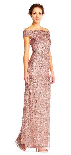 Off the Shoulder Sequin Beaded Gown