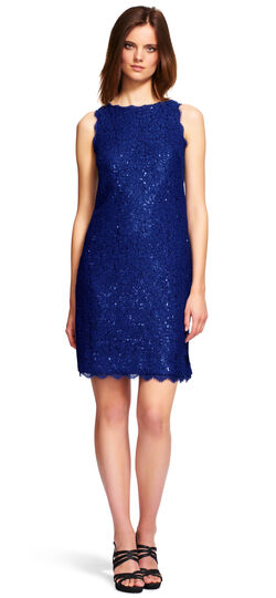 Sequin and Lace Shift Dress with Exposed Zipper