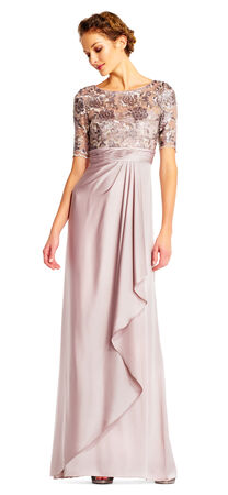 Draped Satin Dress with Floral Sequin Bodice and Elbow Sleeves