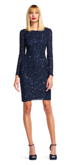 Long Sleeve Sequin Cocktail Dress