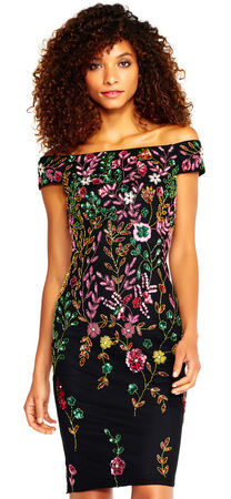 Off The Shoulder Dress with Bright Floral Beading