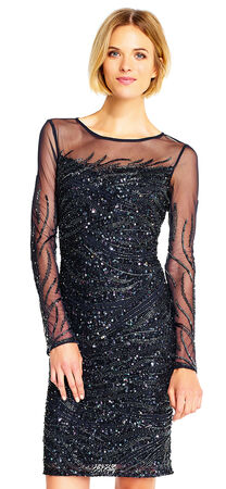 Sequin Beaded Dress with Illusion Long Sleeves and Back