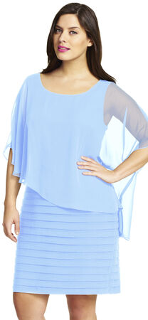 Flutter Sleeve Chiffon Overlay Dress with Banding