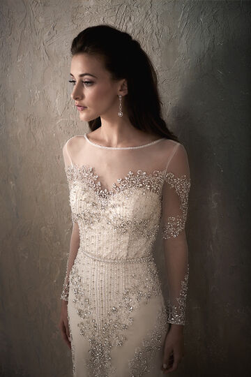 All-Over Beaded Long Sleeve Wedding Dress with Illusion Neckline - 31032