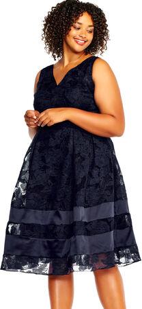 Burnout Jacquard Fit and Flare Dress with V-Neckline