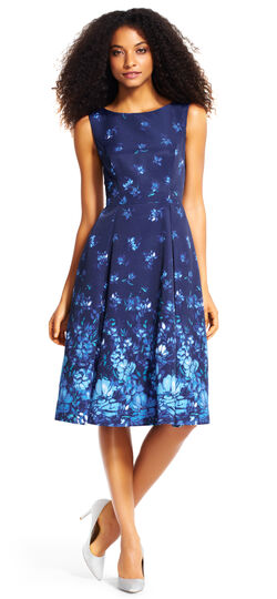 Floral Fit and Flare Midi Dress with Pleated Skirt