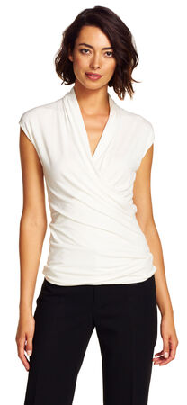Solid V-neck Cap-Sleeve Top