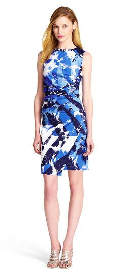 Diagonal Printed Sheath Dress