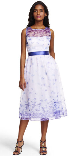 Sleeveless Floral Print Organza Mid Length Party Dress