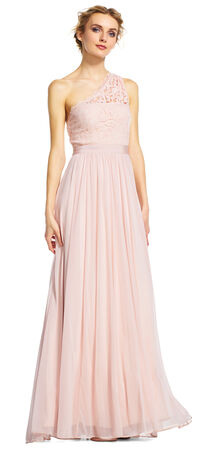 One Shoulder Tulle Dress with Scroll Lace Bodice
