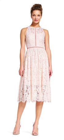 Lace Midi Dress with Metallic Corded Accents