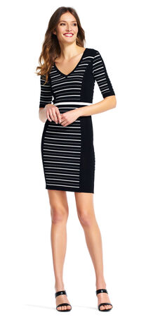 Short Sleeve Stripe Colorblock Sheath Dress with V-Neck