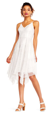 Striped Embroidered Lace Dress with Hanky Hem