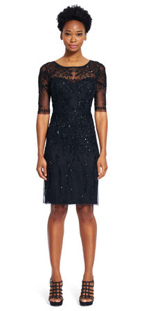 Three Quarter Sleeve Beaded Dress