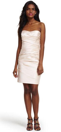 Strapless Shirred Satin Cocktail Dress