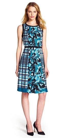 Mixed Print Pleated Dress