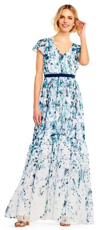 Watercolor Floral Chiffon Maxi Dress with Flutter Sleeves