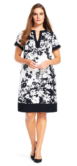 Graphic Colorblock Floral Shift Dress with Split Neck