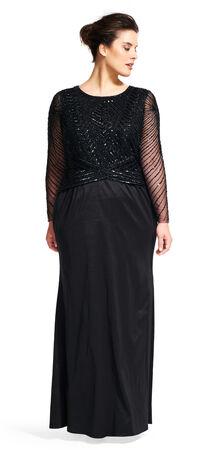 Long Sleeve Beaded Memaid Gown