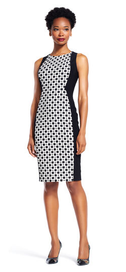 Polka Dot Colorblock Sheath Dress with Exposed Zip Back