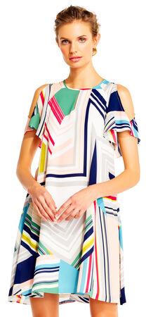Maze Print Shift Dress with Cold Shoulder Flutter Sleeves