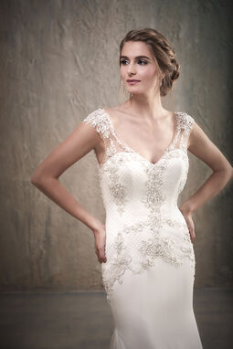 Cap Sleeve Slim Beaded Wedding Dress with Embroidered Bodice - 31031