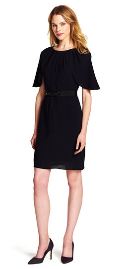 Draped Sleeve Blouson Sheath Dress