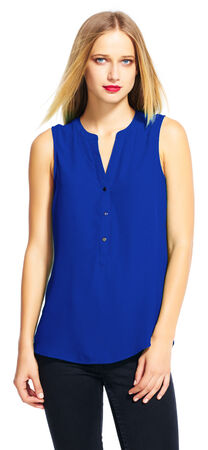 Sleeveless Button Down Top with Split Neckline