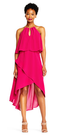 Asymmetrical High Low Popover Crepe Dress with Metal Neck