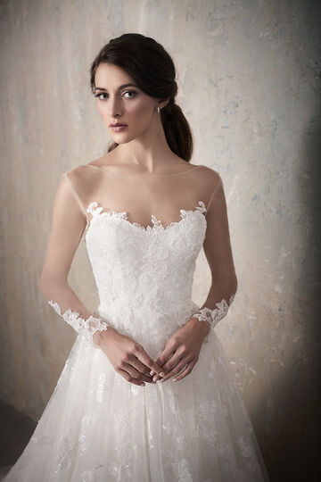 Long Sleeve Beaded Lace Tulle A-Line Wedding Dress with Low Back - 31020