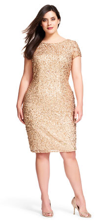 Scoop Back Sequin Cocktail Dress with Short Sleeves