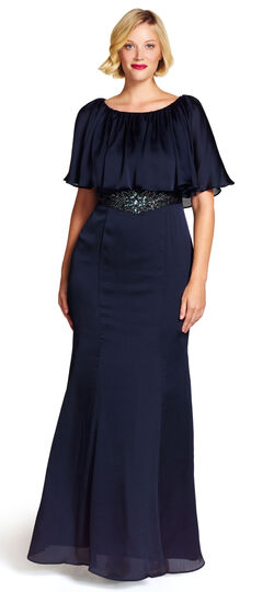 Beaded Waist Capelet Gown