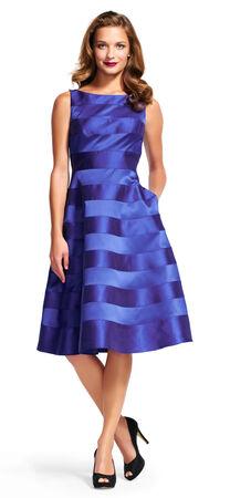 Satin Stripe Midi Dress with Deep V-Back