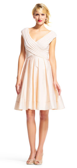 Off the Shoulder Fit and Flare Dress with Taffeta Skirt