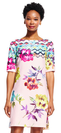 Short Sleeve Shift Dress with Geometric Floral Print