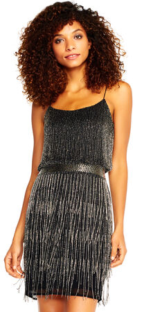Beaded Fringe Dress with Contrast Beaded Waist
