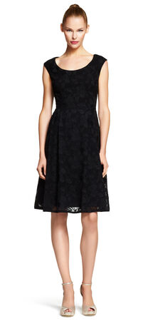 Embroidered Chiffon Fit & Flare Dress