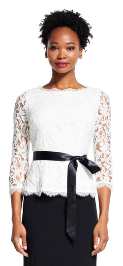 Three Quarter Sleeve Lace Blouse with Satin Ribbon
