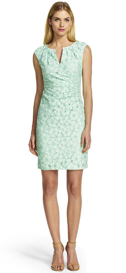 Side Pleated Lace Sheath Dress
