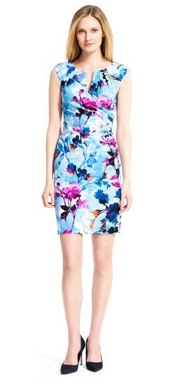 Pleated Floral Sheath Dress