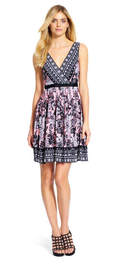 Printed V-Neck Fit and Flare Dress