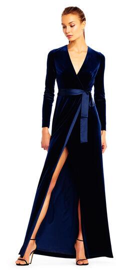 1940s Formal Dresses History Long Sleeve Velvet Wrap Gown $265.00 AT vintagedancer.com