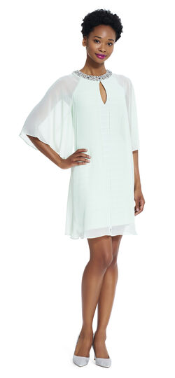 Banded Sheath dress with chiffon caplet