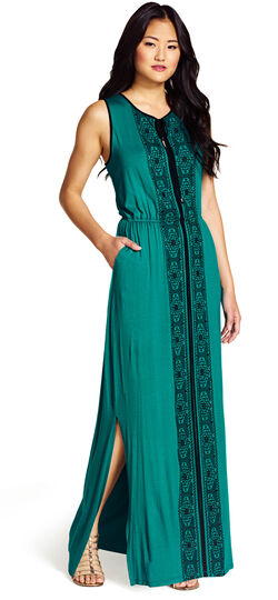 Embroidered Knit Maxi Dress