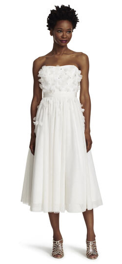 Strapless Tulle Midi Party Dress