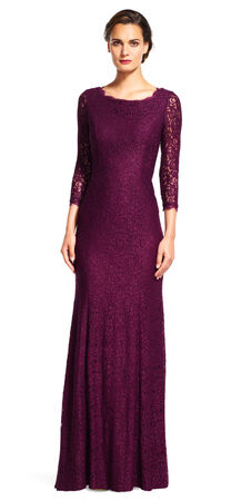 Lace Mermaid Gown with Three Quarter Sleeves