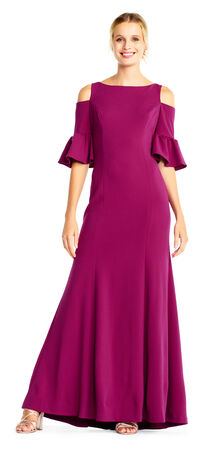 Jersey Mermaid Gown with Cold Shoulder Bell Sleeves