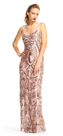 Sequin Embroidered Dress with Illusion Neckline