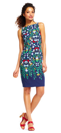 Floral Print Sheath Dress with V-Back